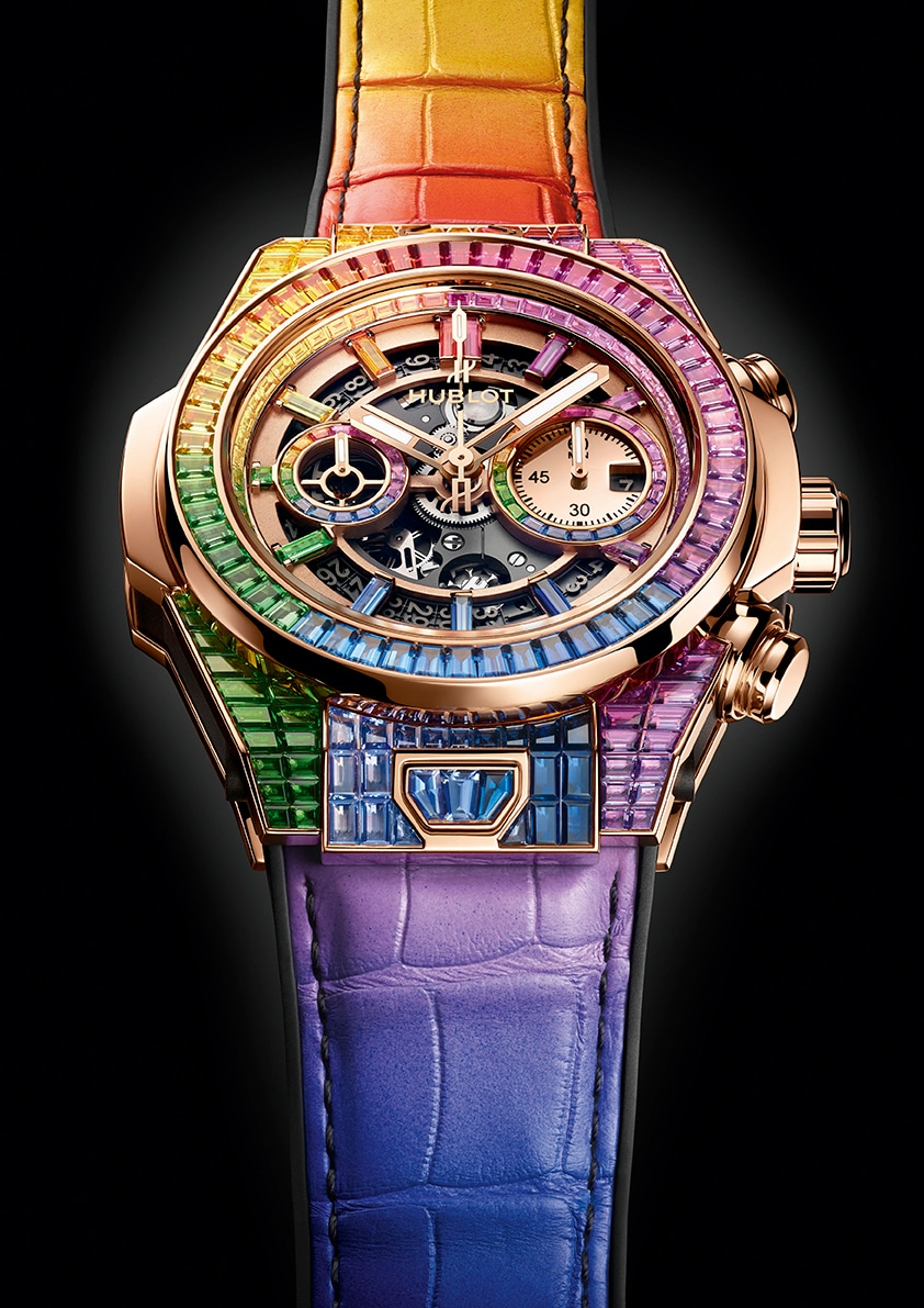HUBLOT  – BIG BANG UNICO FULL BAGUETTE KING GOLD RAINBOW